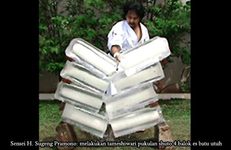 sensei h.sugeng pramono melakukan tameshiwari pukulan shuto 4 balok es batu utuh